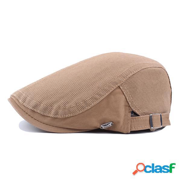Homens algodão cor sólida toldo boina cap pato chapéu casual ao ar livre peaked cap forward hat ajustável