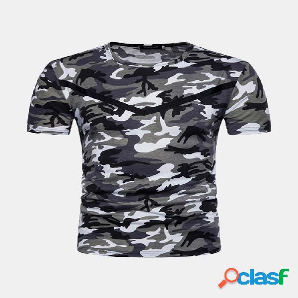 Mens verão camuflagem militar tático o pescoço manga curta casual camisas