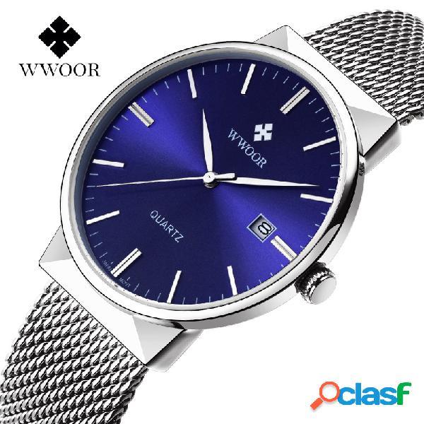 Relógio ultra-fino de quartzo de homens de luxo wwoor relógios de pulso relógios de pulso relógios de pulso de aço inoxidável
