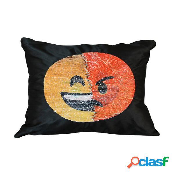 Capa de almofada fofa faça você mesmo para mudar o rosto emoji travesseiros decorativos travesseiro de lantejoulas caso capa para rosto sorridente