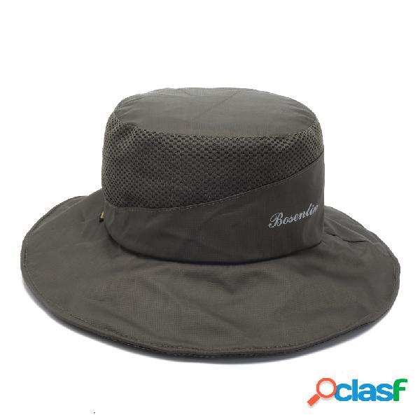 Chapéu de pescador dobrável anti-uv respirável secagem rápida aba larga