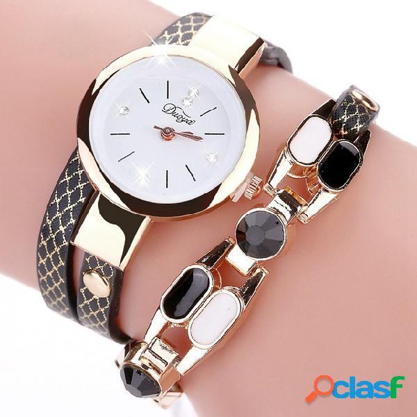 Duoya moda feminina relógio pulseira de cristal de couro boêmio pulseira de quartzo relógio de pulso