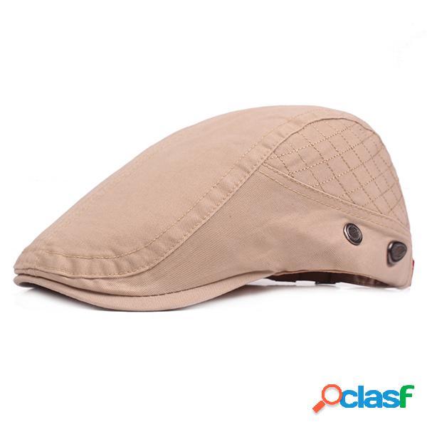 Mens de algodão cor sólida boina cap sombrinha chapéu casual ao ar livre repicado cap forward hat ajustável