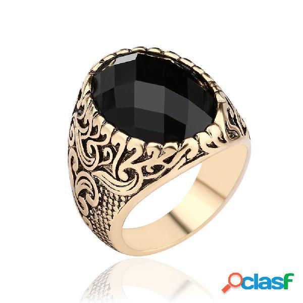 Anel de dedo masculino vintage preto grande pedra preciosa anel punk joias steampunk para homens