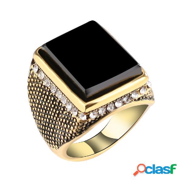 Retro árabe big gold men anel preto gem stone white rhinestone inlay anel de dedo jóias para homens