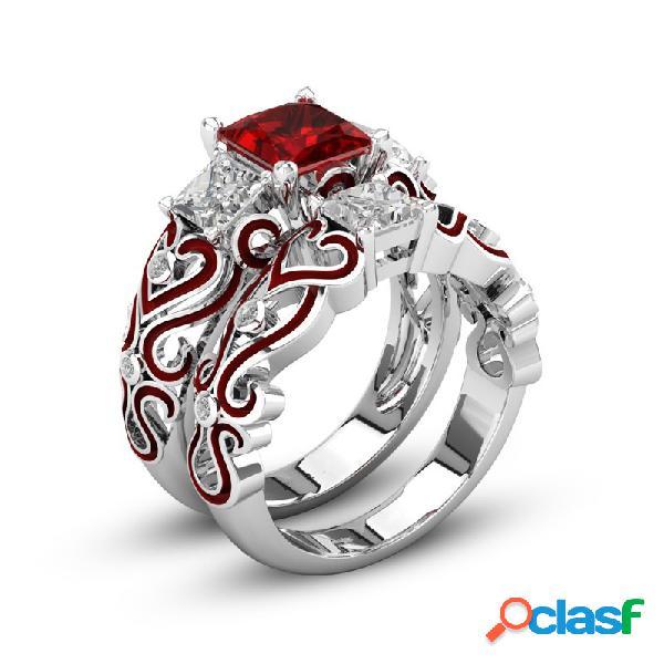 2 pcs anéis de coquetel empilháveis cubic zirconia anéis de noivado do casamento do coração vermelho anéis para as mulheres