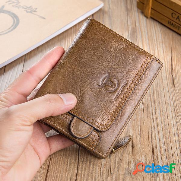 Carteira curta do couro do vintage de bullcaptain carteiras zipper titular da bolsa da moeda