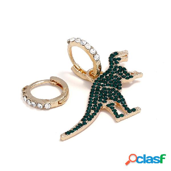 Clássico ouro verde strass dinossauro dangle brincos moda assimetria brincos para mulheres presentes