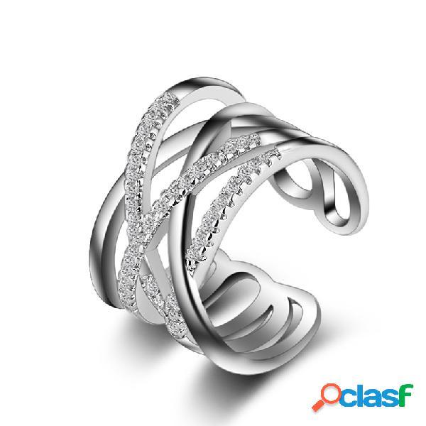Empilhável twining clear cz anel zazz dazzling anéis de noivado para mulheres jóias presente