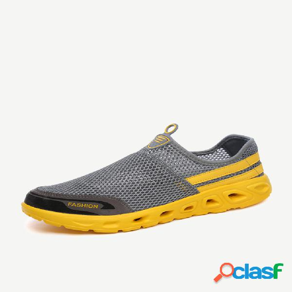 Sapatos upstream de tecido de malha masculino respirável leve e multifuncional