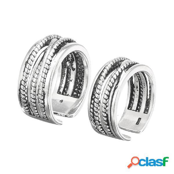 Vintage twist antique anel de prata ajustável open-end anel de dedo jóias para mulheres dos homens