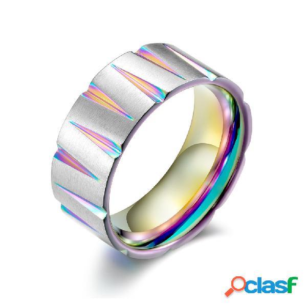Wiredrawing colorido cone geométrico anéis de dedo de aço inoxidável anéis de noivado das mulheres dos homens