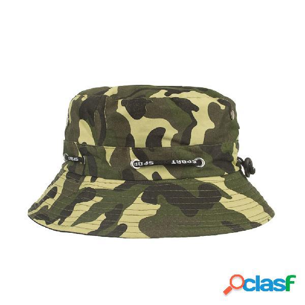 Algodão mens verão respirável camuflagem bucket cap ao ar livre praia cap sun sombra viseira panamá chapéu