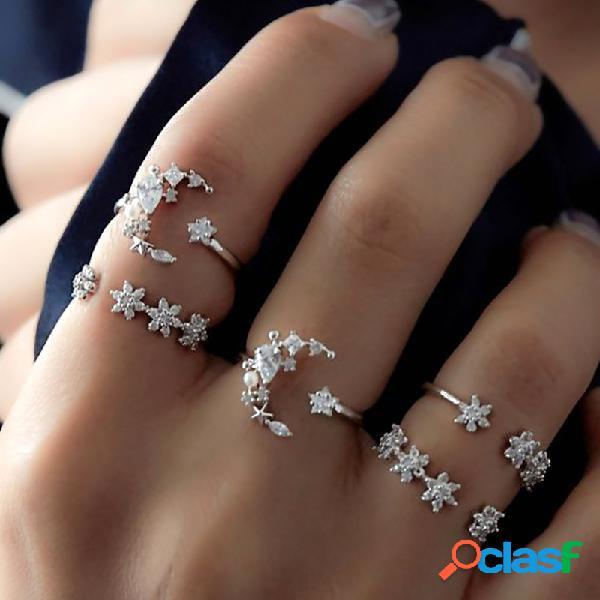 Conjuntos de anéis de moda 5 unidades anel de dedo boêmio anel simples estrela da lua strass anéis para mulheres