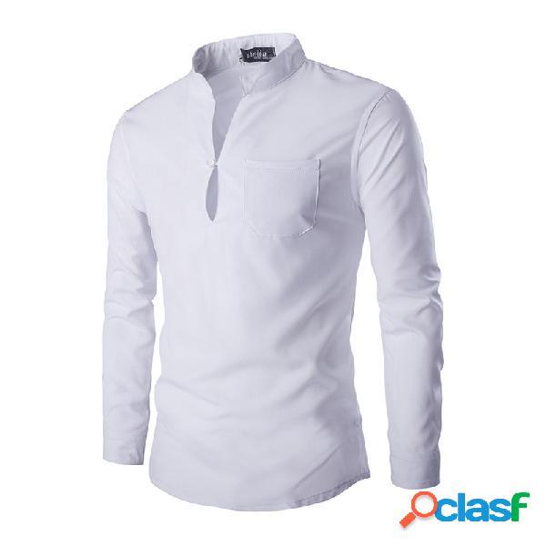 Mens algodão respirável breve estilo cor sólida gola manga comprida primavera outono camisas casuais t