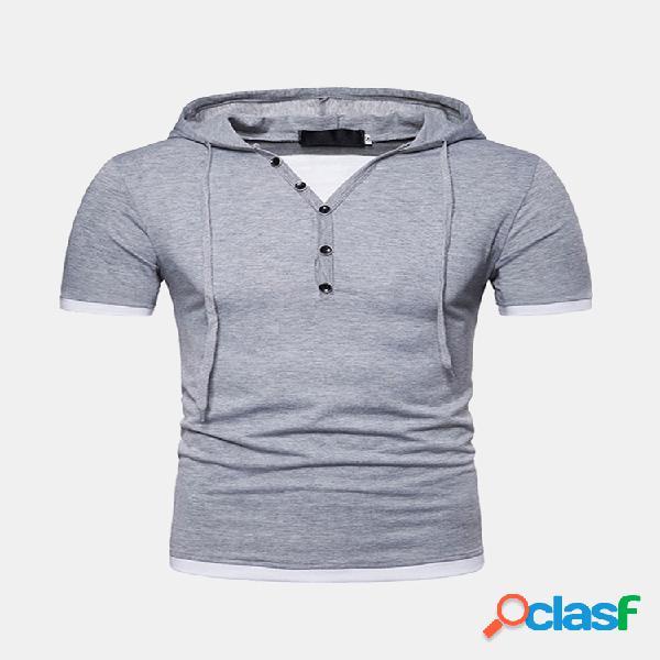 Mens summer solid color slim fit botões camisas com capuz casuais