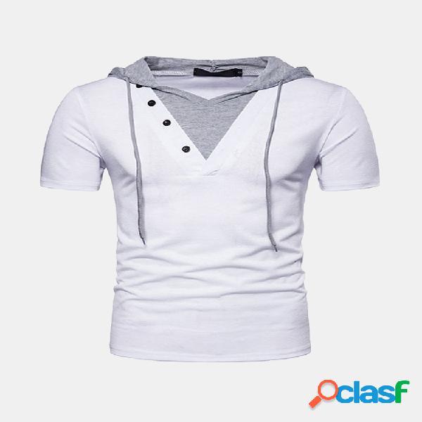 Mens verão falso duas peças manga curta slim fit casuais camisas com capuz