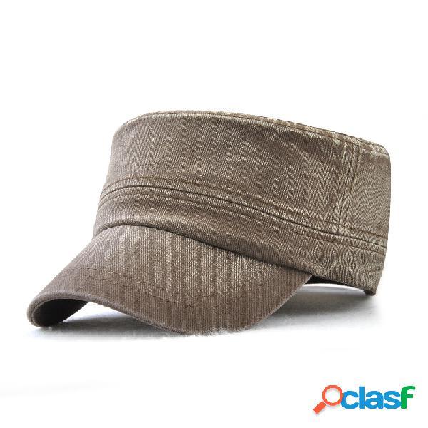 Mens vintage cor sólida borda tampão cap respirável lavado algodão sol chapéu esportes ao ar livre cap