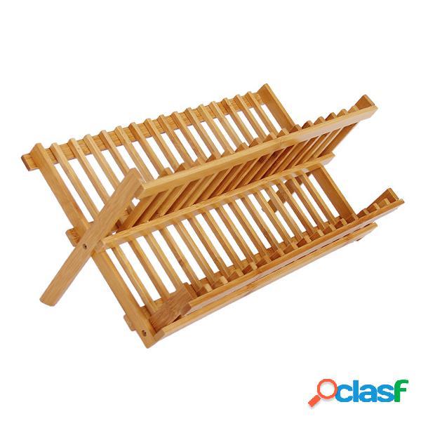 Prato de bambu dobrável placa de secagem rack escorredor de copo bandeja + utensílio talheres titular