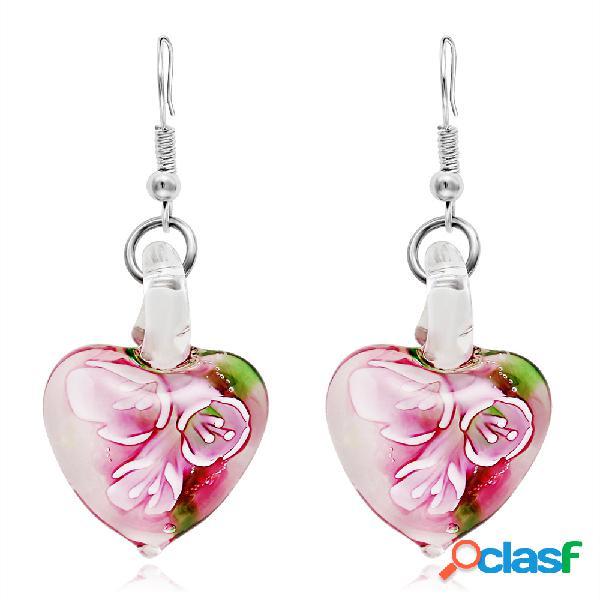 Bohemian criativo jóias brincos étnicos luminosa flor padrão coração dangle brincos para as mulheres