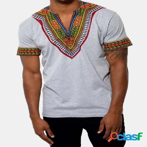 Camisola masculina de estilo étnico africano de 3d estampagem em v-gola