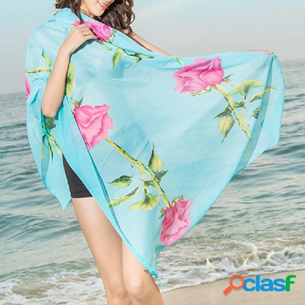 Mulheres chiffon longo soft cachecol xale multifunções cachecol xale fino ao ar livre praia lenços