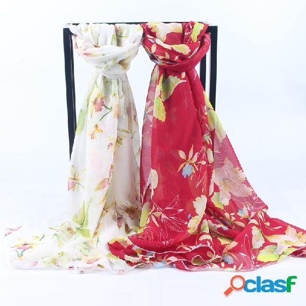 Mulheres fino chiffon de seda respirável lenço brilhante moda bordado requintado padrão xaile