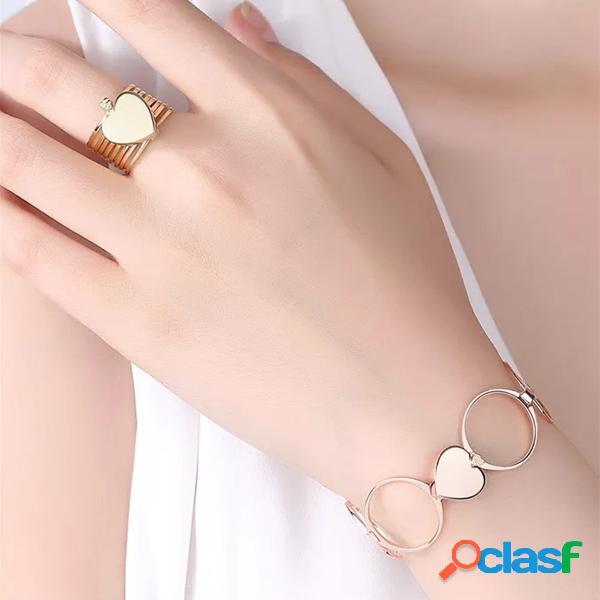 Único coração anéis de dedo empilhável multilayer 2 em 1 pulseira de anel de dupla finalidade para mulheres