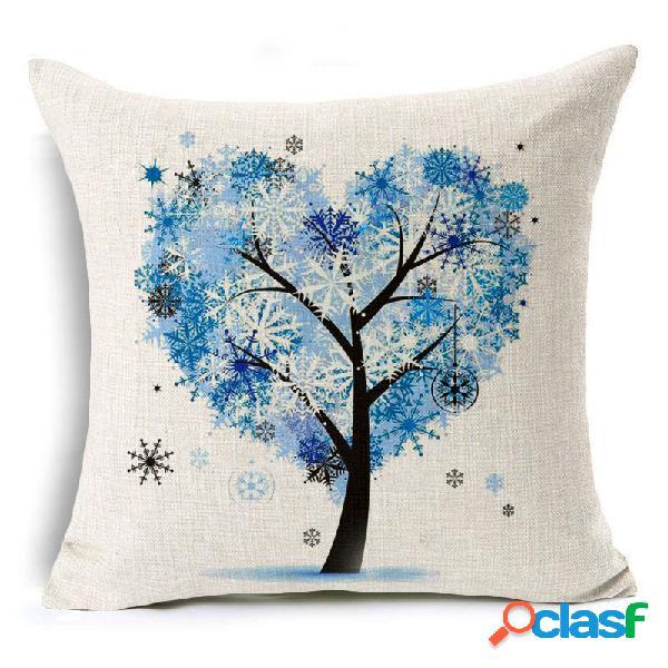 45x45 cm árvore decorativa e homing temporada vida algodão de linho brilhante colorido fronha