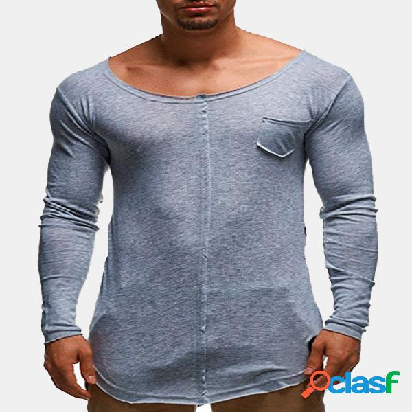 Mens primavera outono cor sólida respirável soft confortável manga comprida casual t shirts