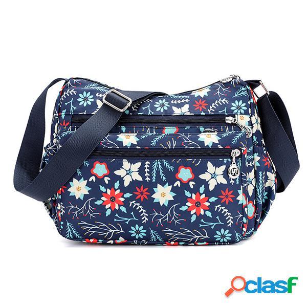 Mulheres flor padrão impermeável leve sacos de ombro sacos crossbody