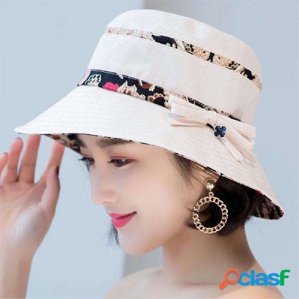 Mulheres verão algodão bucket hat com padrão de flor ocasional sunshade respirável praia chapéu
