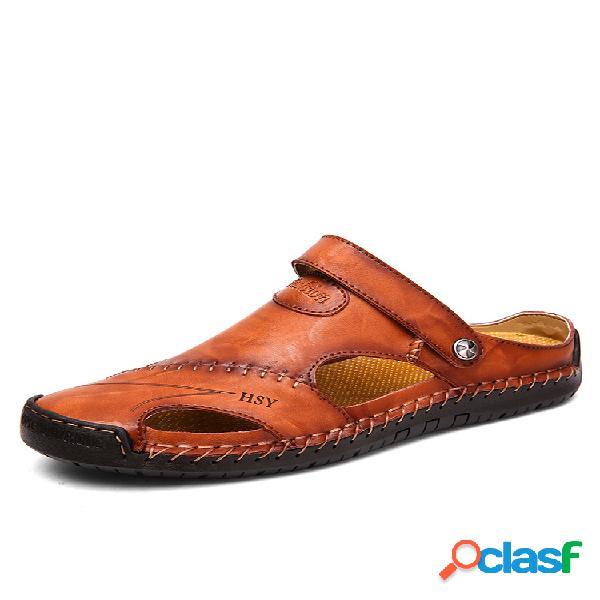 Sandálias artesanais macios de costura de couro de dedo de pé fechado