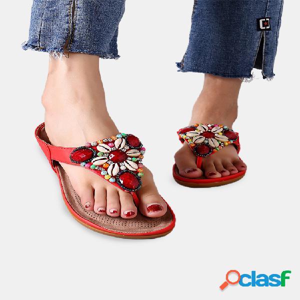 Sandálias boêmio tamanho grande em concha sem encosto para mulheres