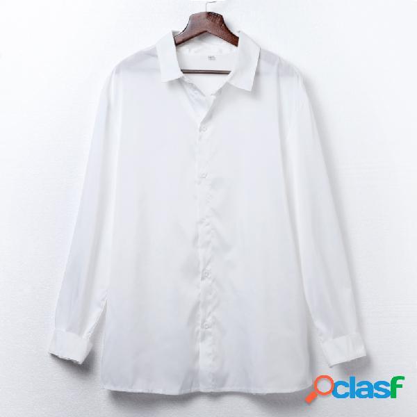Camisas de manga comprida respirável fina branca à moda com colarinho para homens