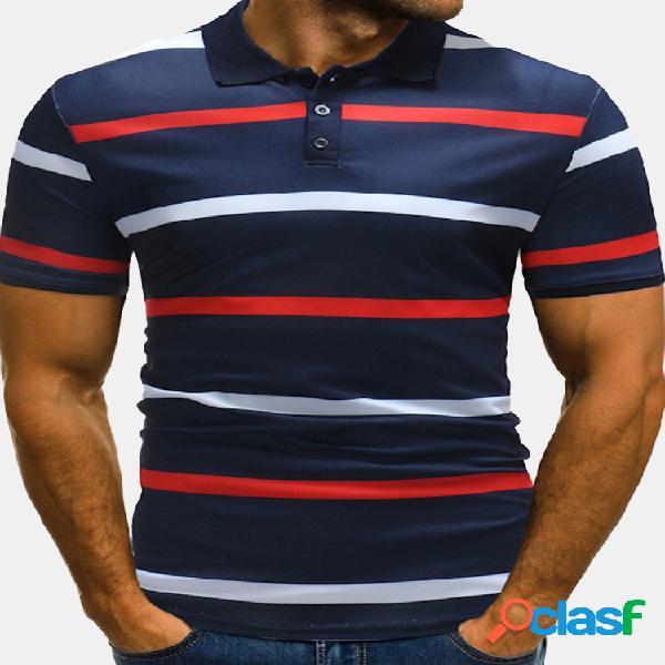 Mens business listrado impresso manga curta casual algodão golf camisa