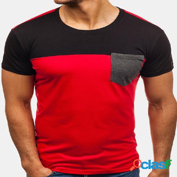Mens elegante hit cor patchwork tops o pescoço de manga curta slim fit camisas casuais t