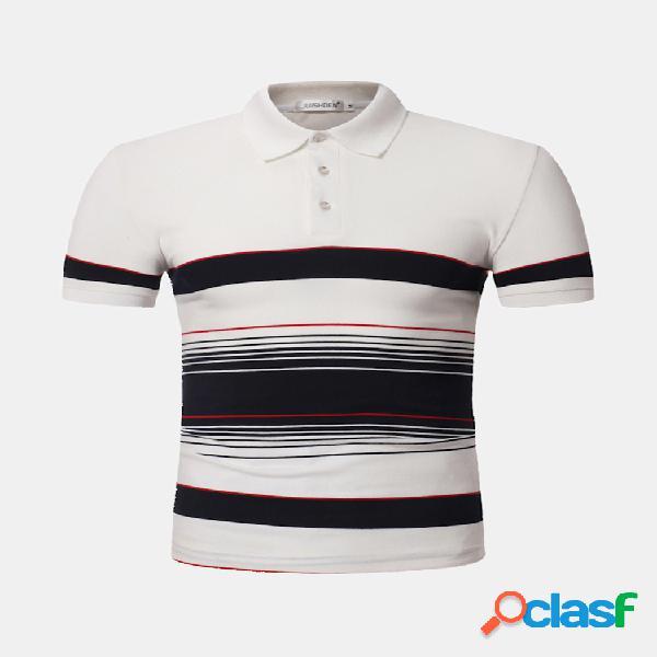 Mens listrado impresso 100% algodão respirável confortável slim fit verão casual golfe camisa
