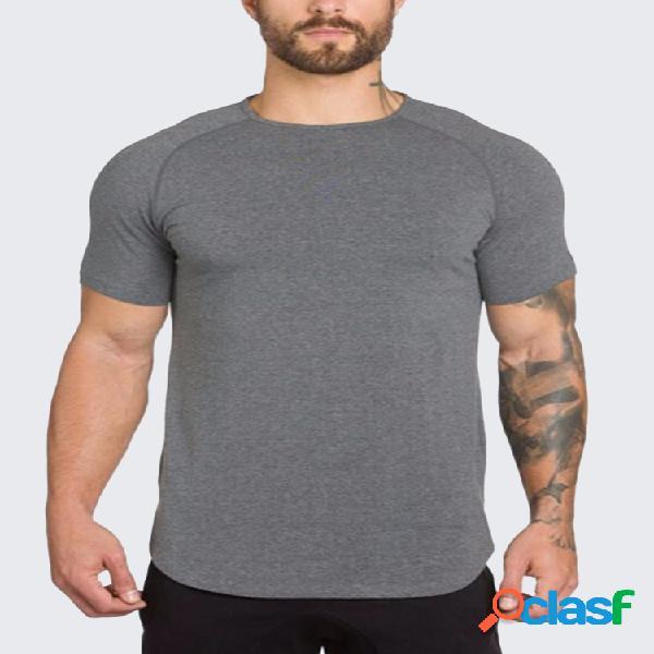 Mens verão básica cor sólida o pescoço manga curta slim fit camisas de algodão casuais