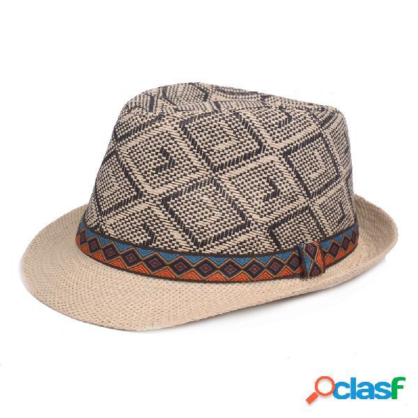 Mens vintage lattice cap jazz bucket hat praia cap viagem respirável cap sun chapéu de palha