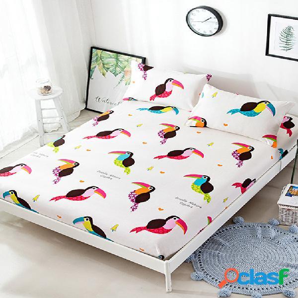 Novo lençol de pássaro impresso duplo queen king size completo lençol de algodão tamanho 3