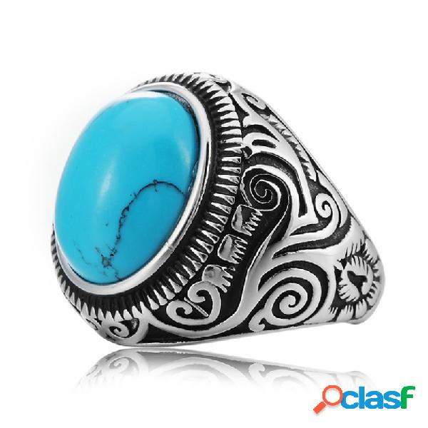 Anéis de dedo azul turquesa vintage padrão preto gem titanium steel men ring