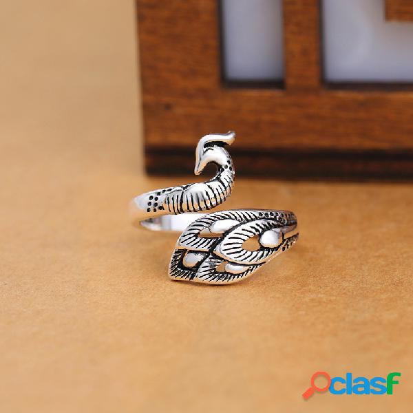 Anéis de prata antigos étnicos do pavão do vintage que abrem anéis de dedo ajustáveis para mulheres