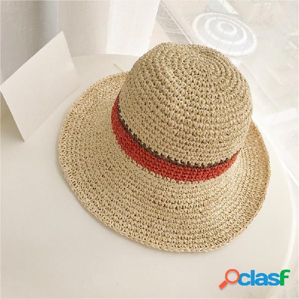 Chapéu casual dobrável respirável de protetor de sol de palha para praia