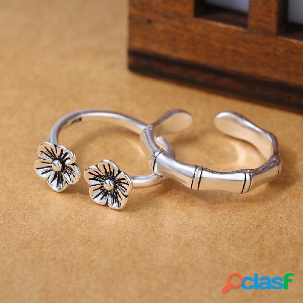 Étnico antique silver rings vintage plum flor de bambu anéis de dedo ajustável para as mulheres
