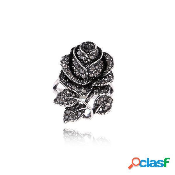 Luxo preto completo strass rosa flor mulheres anéis vintage big original anéis para mulheres presente