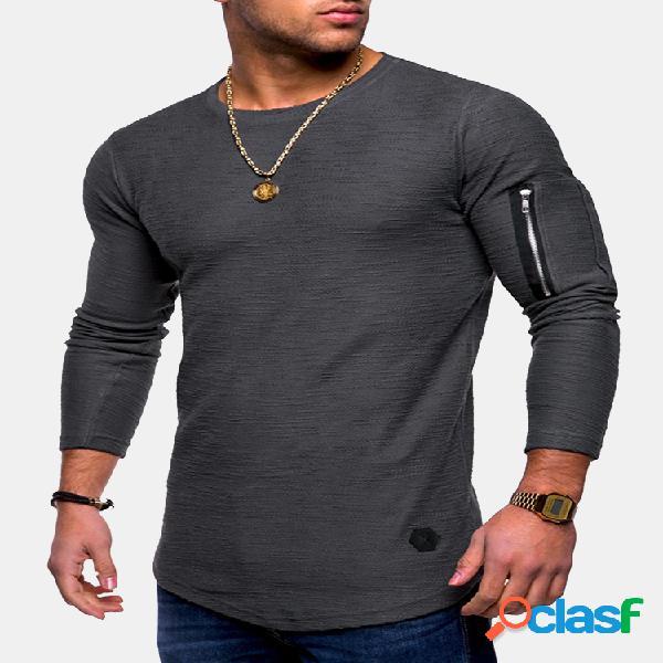Mens respirável cor sólida irregular hem zipper o-pescoço manga comprida magro camisas casuais t