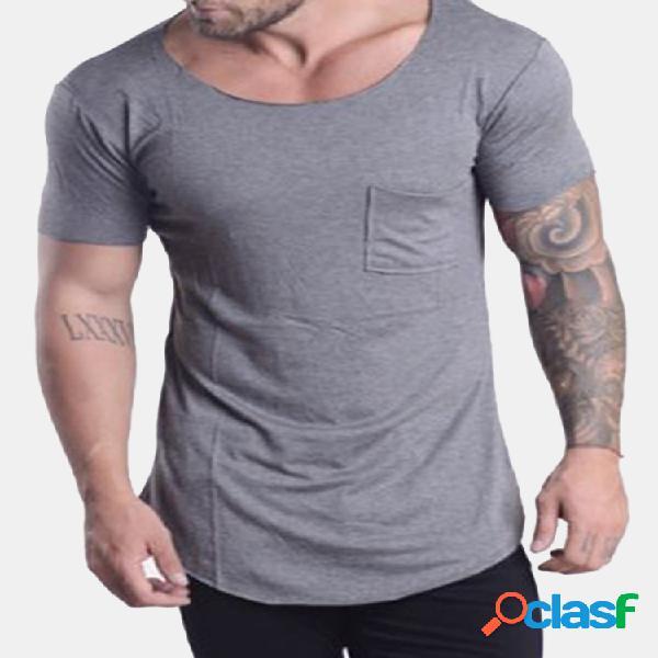 Mens verão elegante bolso design cor sólida o pescoço manga curta slim fit camisas casuais t