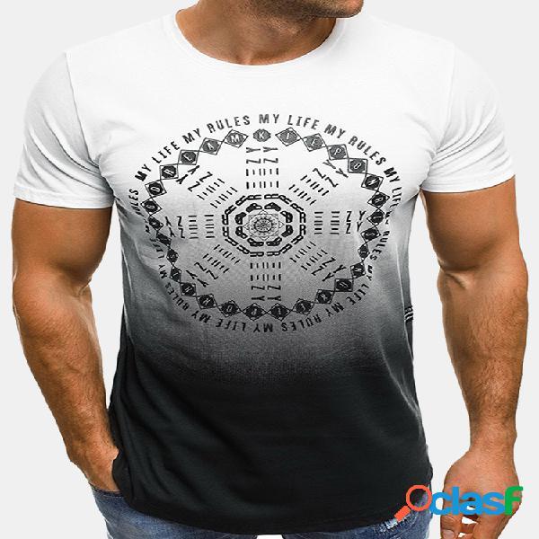 Mens verão impresso hem irregular o-pescoço manga curta slim fit casual t shirts