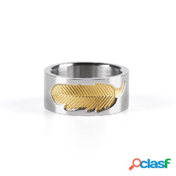 Único unisex ouro charme de penas anéis de aço inoxidável casal anéis de noivado para mulheres homens